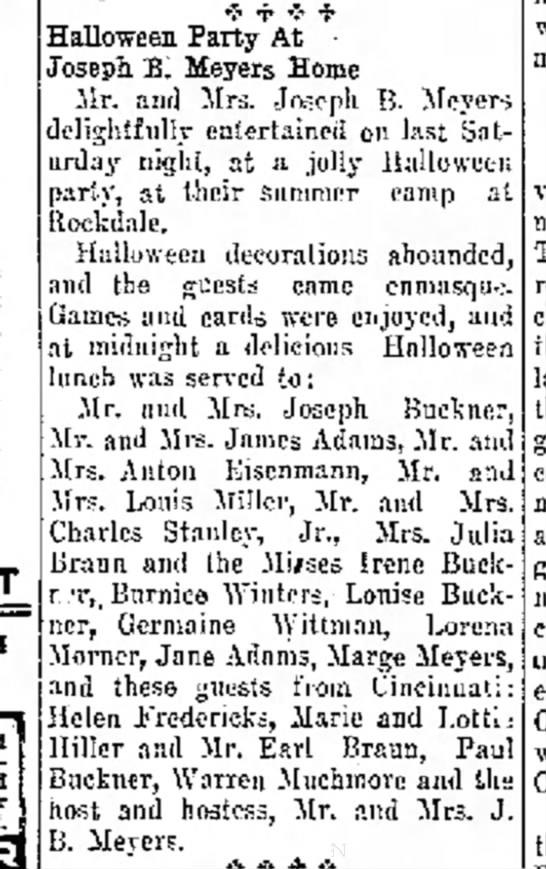 Joseph B. Meyers hosts party - Buckner (1931)