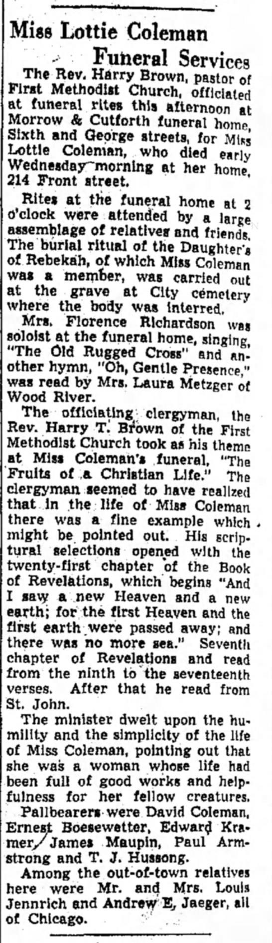 Lottie Coleman dies 22 Sep 1939