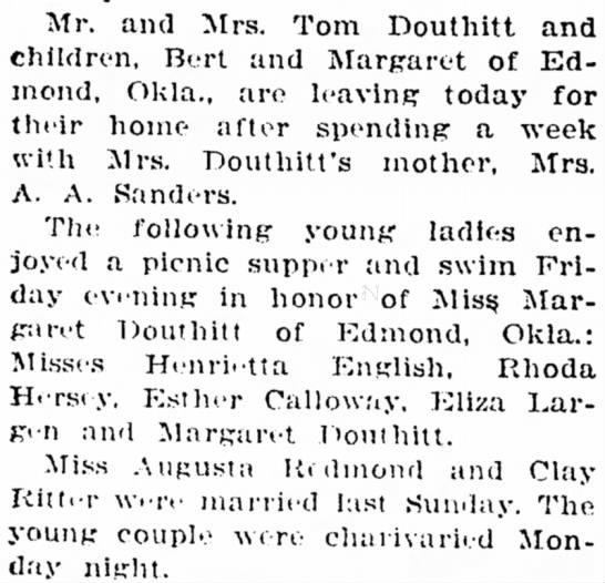 Tom, Bert, and Margaret Douthitt Sep 3, 1925