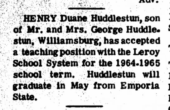 Feb 24 1964 Anouncement Henry Duane Huddlestun