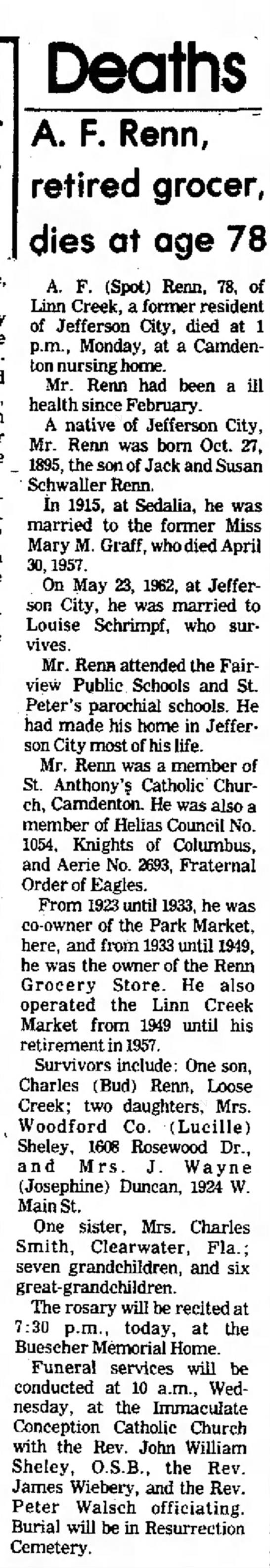 Alfred Francis Renn newspaper obituary