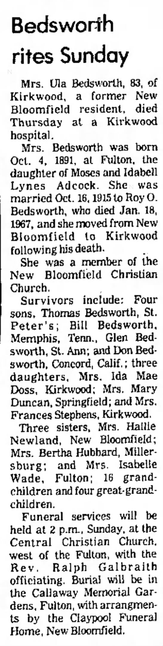 Ula (Adcock) Bedsworth newspaper obituary