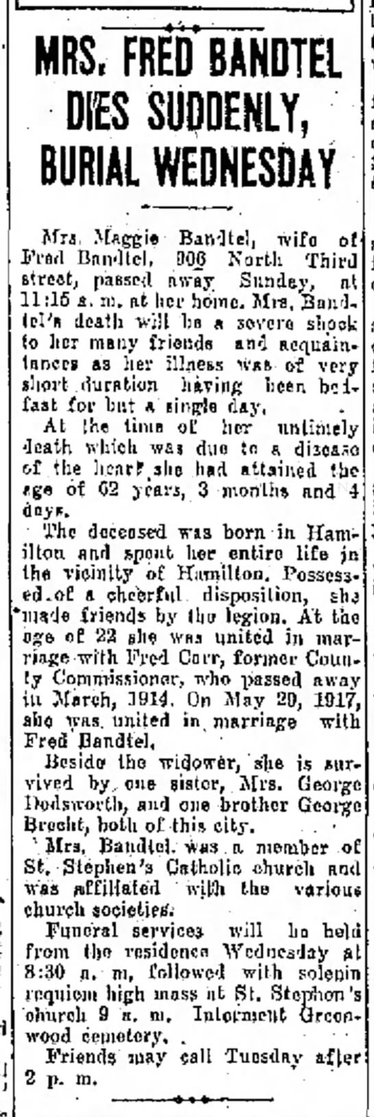 Mrs. Maggie Bandtel(wife of Fred) The Journal News Hamilton,OH Mon. Feb.9,1925 p.2