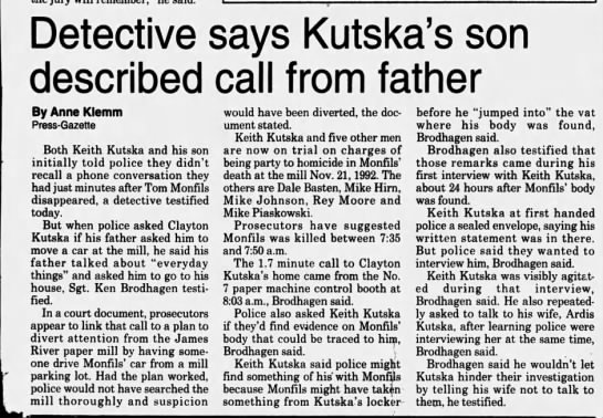 Oct 16, 1995, Monfils Homicide: Detective says Kutska's son described call from father