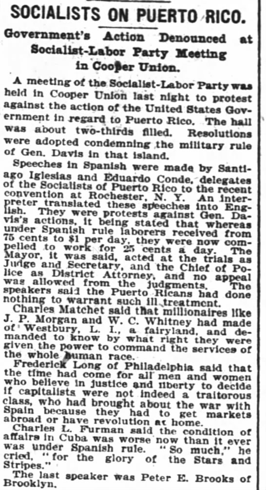 Work force in Puerto Rico - 1900