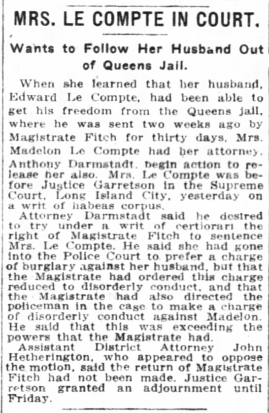 NYTimes 11Feb1914 Madelon in court