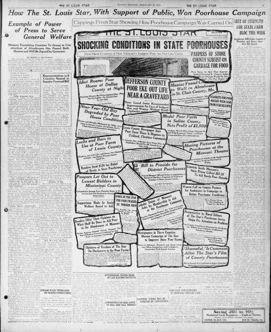 St. Louis Star launches a public awareness campaign to improve conditions in poorhouses, 1923