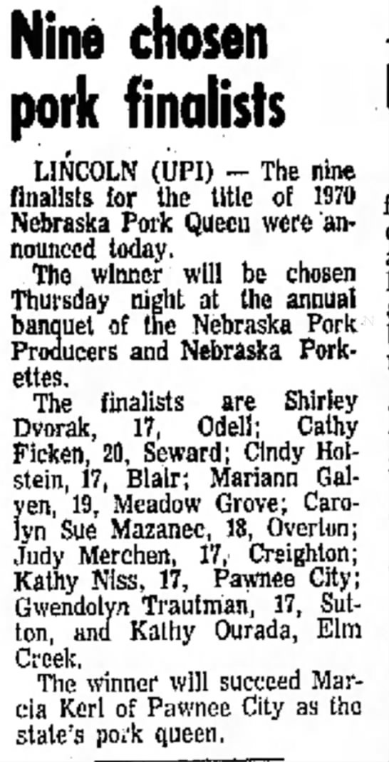 Kerl, Marcia Pork Queen 19 Nov 1969 Columbus Telegram