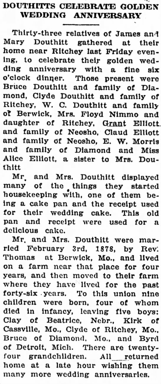 James and Mary Douthitt and children's names.