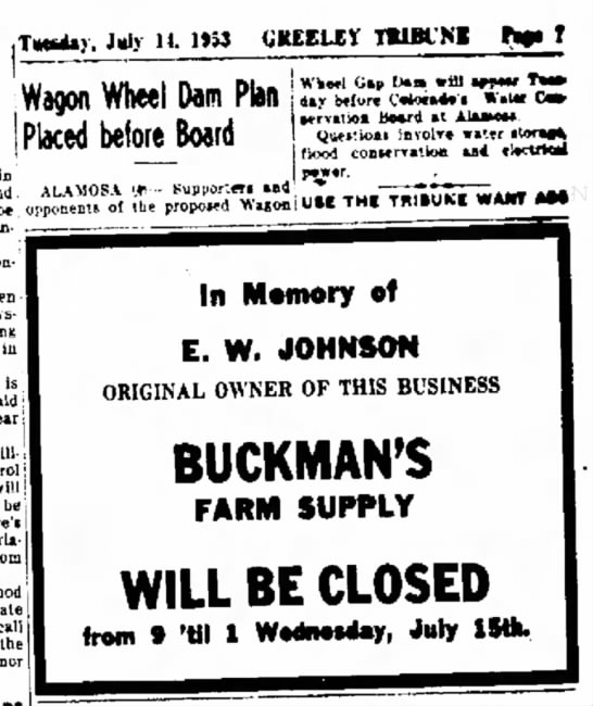 Greeley Daily Tribune - EW Johnson - 14 Jul 1953 p7