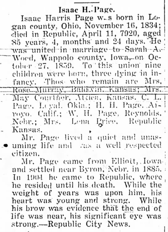 Isaac Harris Page Obituary 04/22/1920