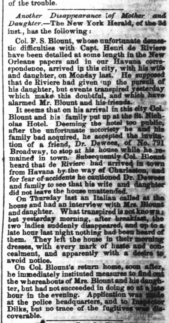1858 - F.S. Blount's wife and daughter give him the slip, again.