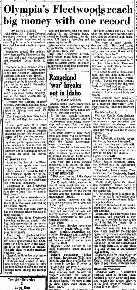 The FleetwoodsPort Angeles Evening NewsJune 5, 1959Page 4, Cols. 2-4