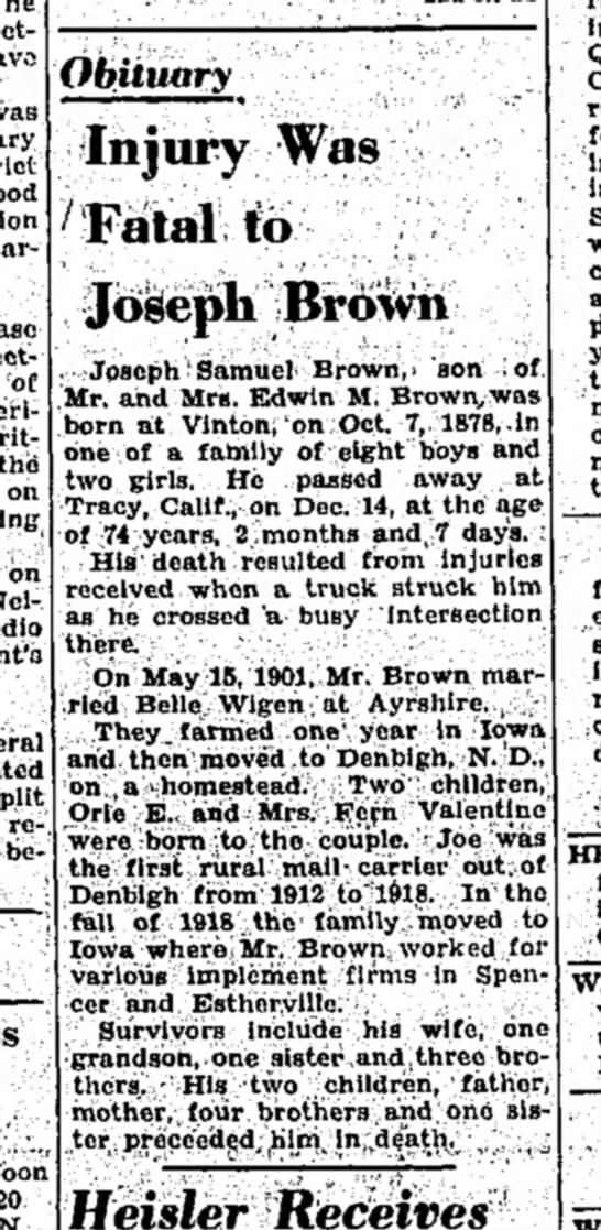 Joseph Brown 1094 obit