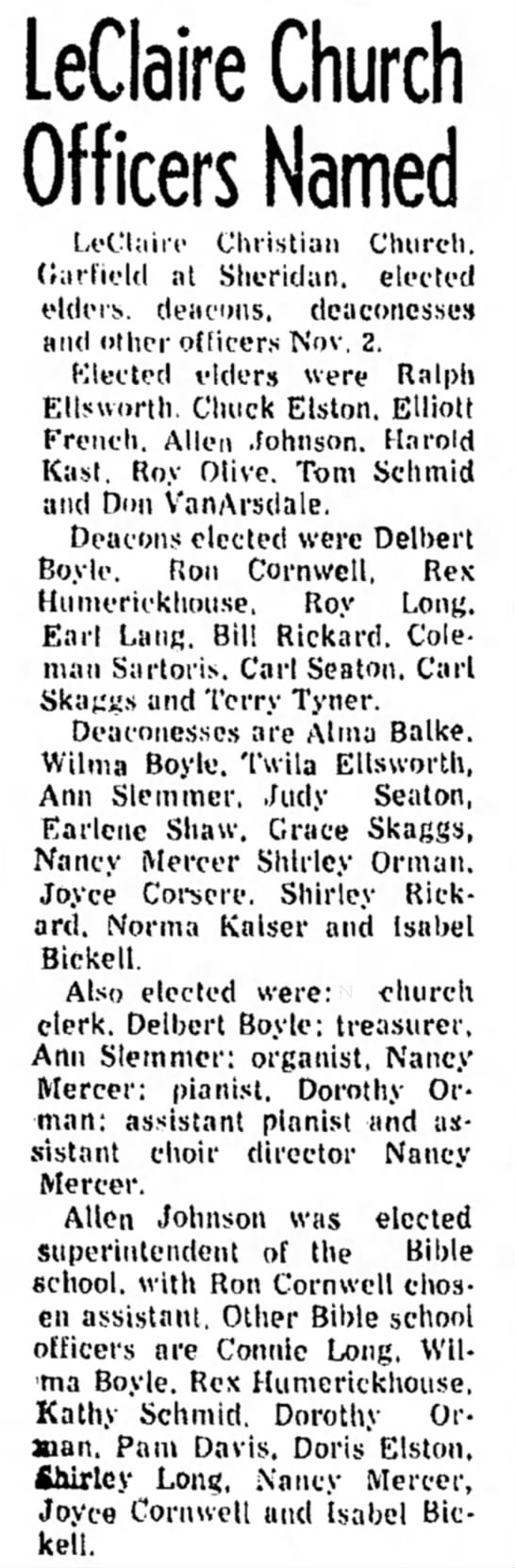 Nov. 7, 1975 LeClaire Church Officers Named