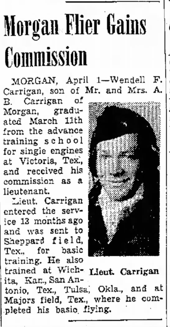 1944 Apr. 2, Wendell Carrigan gets commission