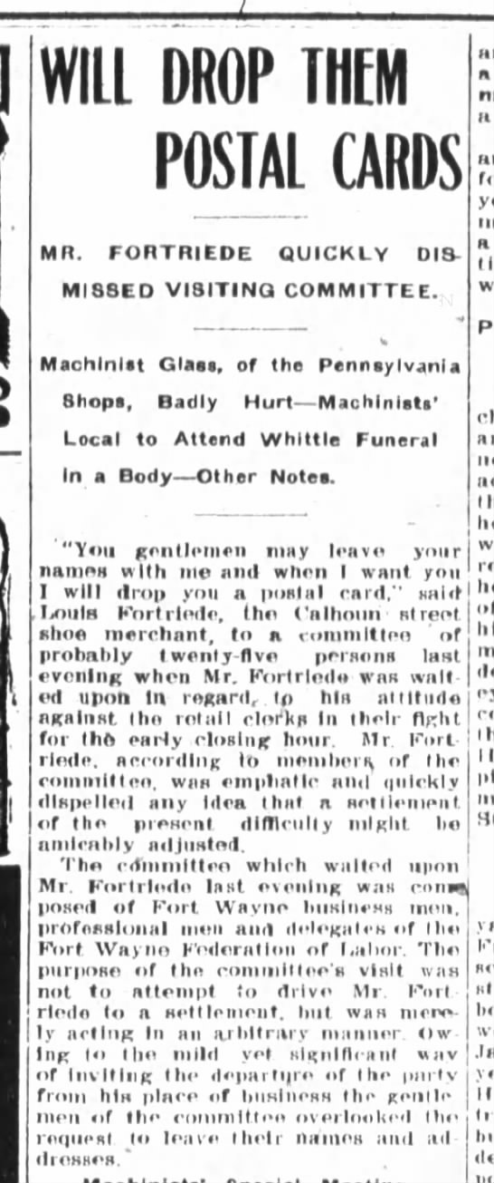 Louis Fortriede, The Fort Wayne Journal-Gazette, Sat. Mar. 2, 1907 p.3