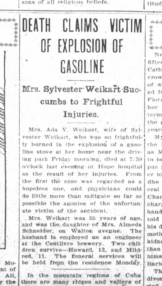 Ada Weikart Obituary, 10 Oct 1908