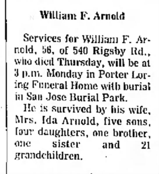 Death notice for William F. Arnold