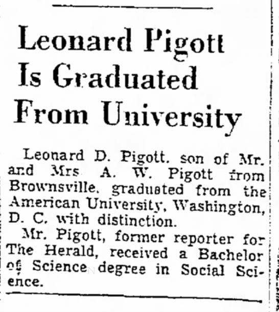 Leonard Pigott Graduates From American University in Washington, D.C.