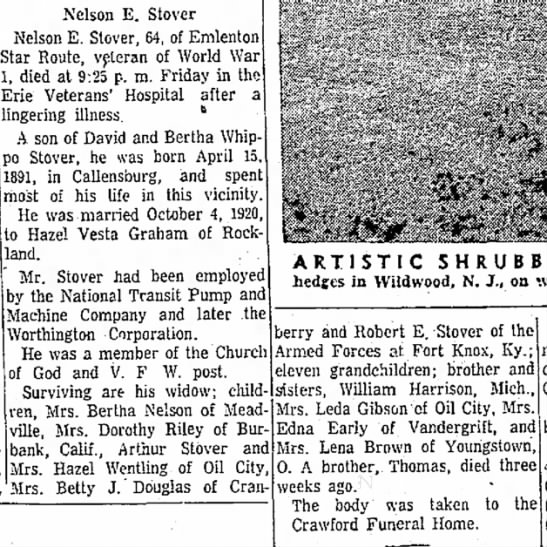 Nelson E Stover obit May 31 1955