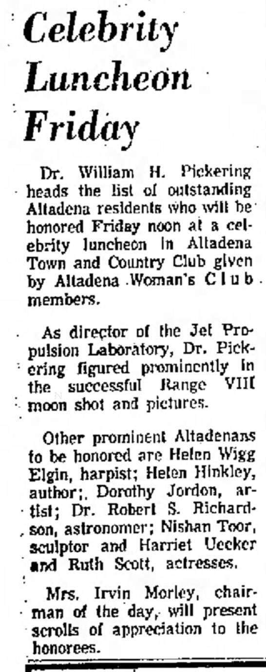 Ruth Scott, honoree, 21 March 1965