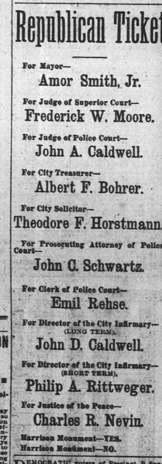 albert F Bohrer runs for treasurer. 3 Apr 1887 Cincinnati.
