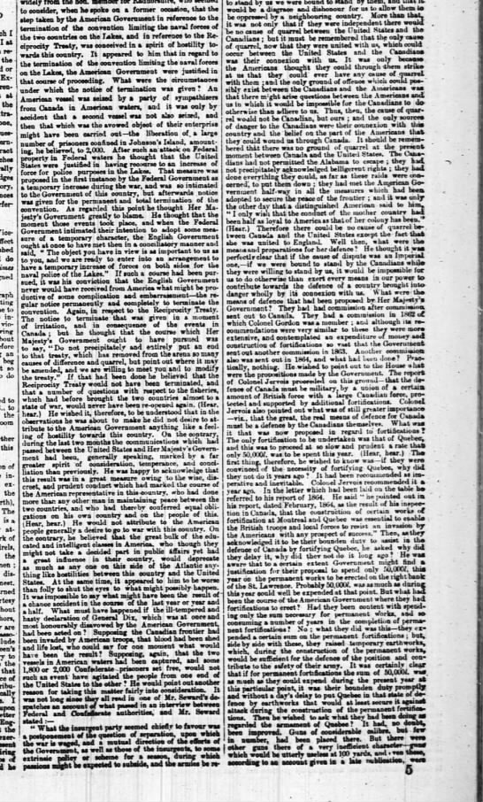 Defences of Canada, 14 Mar 1865 (2)