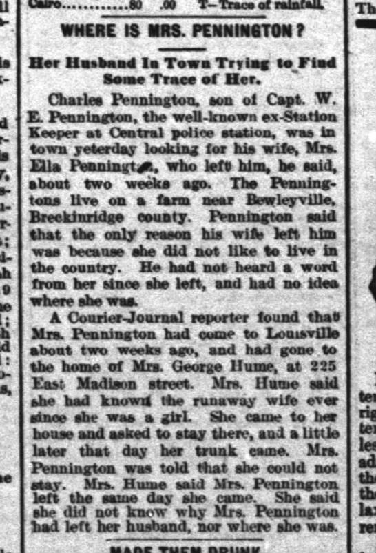 Charles Pennington; wife missing.  He is son of Capt. W . E. Pennington.