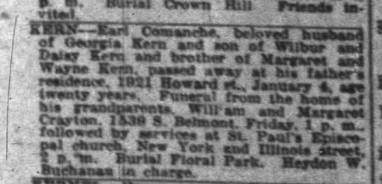 Indianapolis News 6 Jan 1927 pg 6 Deaths Kern Earl Comanche