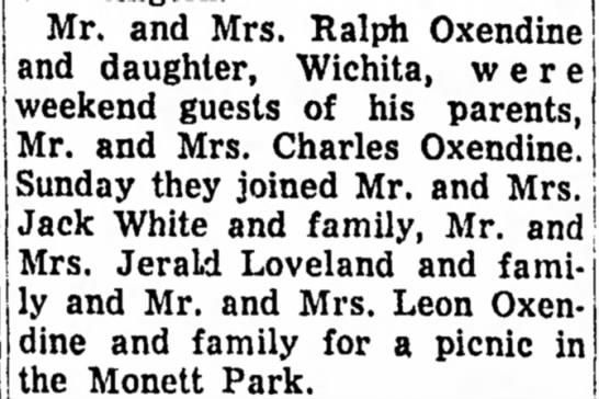Oxendine family picnic in monett park