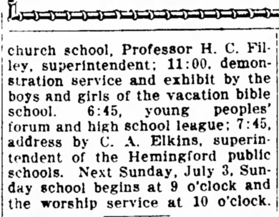 Lincoln Evening Journal, June 25, 1927 article about Warren ME Church
