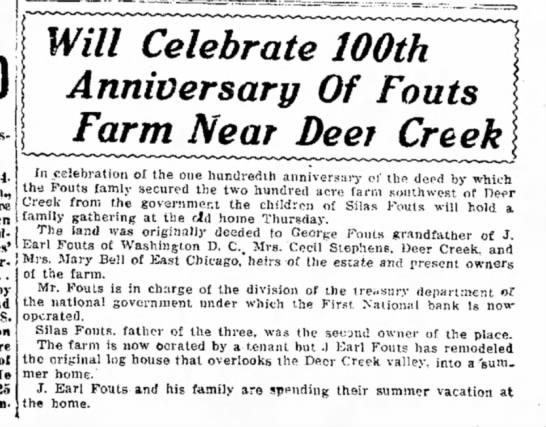 Fouts Farm 100th anniversary