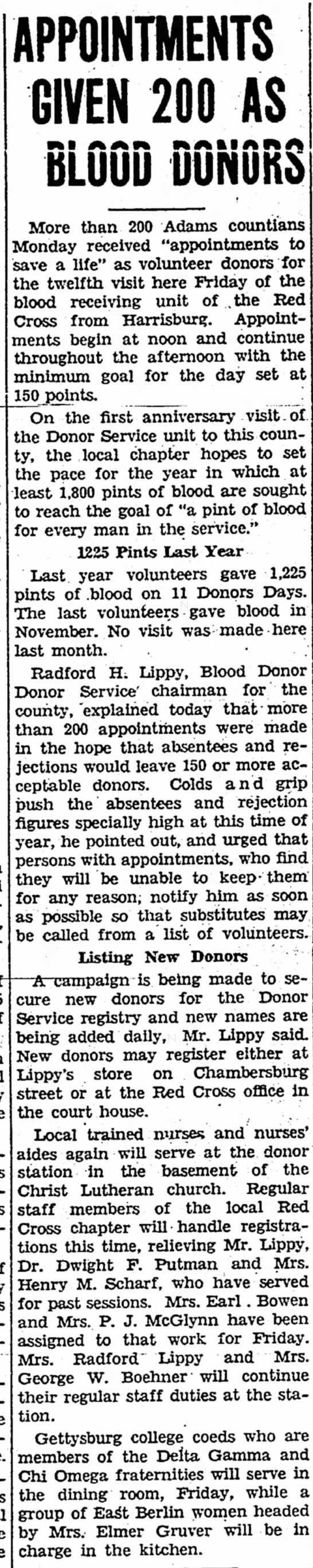 Blood donations 1944