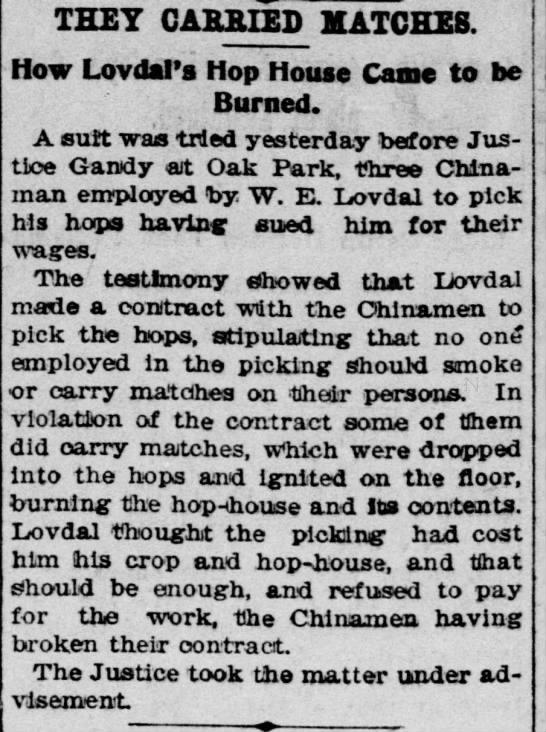 W. E. Lovdal, 21 Nov 1896, Sacramento Record-Union, Page 4, Col. 4
