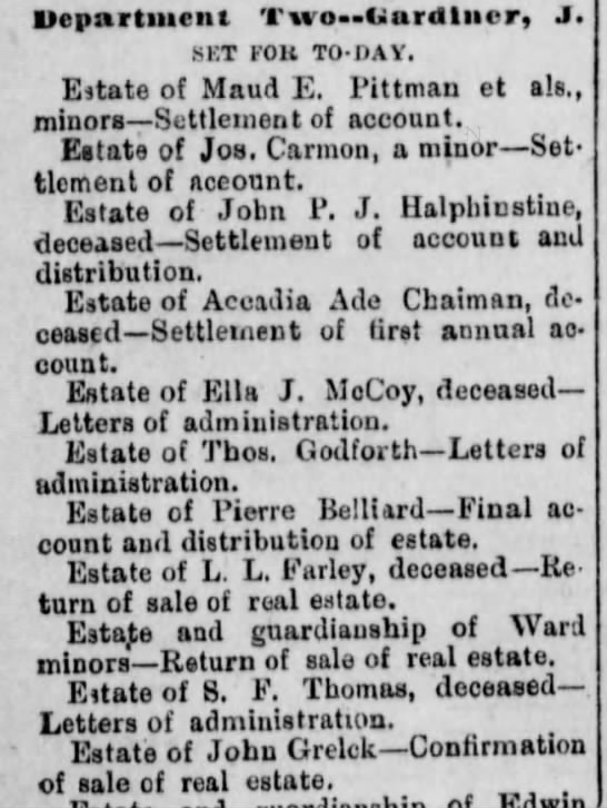 Estate of John Grelck-Confirmation of sale of real estate 16 May 1887