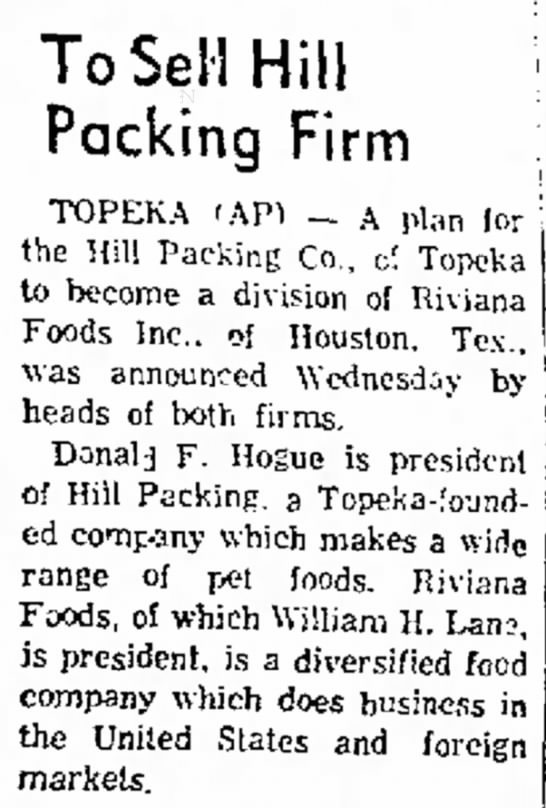 Hills to be sold to Riviana foods