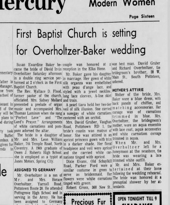 David irvin Overholtzer - susan edwina baker wedding announcement 2