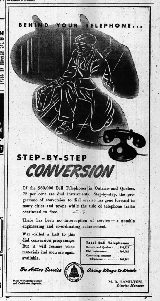 Bell Telephone, dial conversion program, 6 April 1944