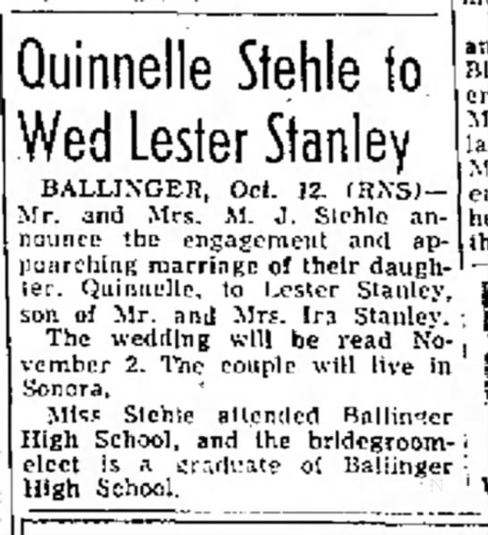 Quinnell Stehle/Lester Stanley marriage, Abilene Reporter-News 13 Oct 1951, pg 11