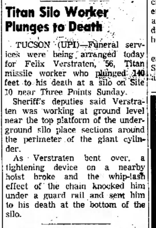 Felix Verstraten The Yuma Daily Sun 19 June 1962  page 14