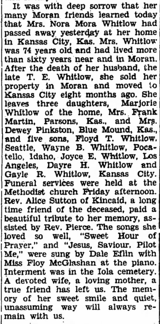 Nora Moss Whitlow Obituary - The Iola Register 9 Sept 1944 Page 2