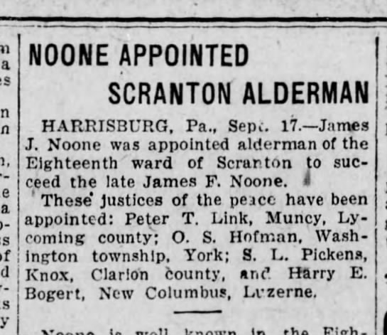 Noone, James J. 1920 Alderman