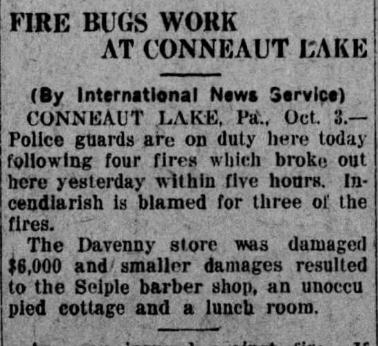 Kane Republican 10/3/1929 Fire Bugs start series of fires