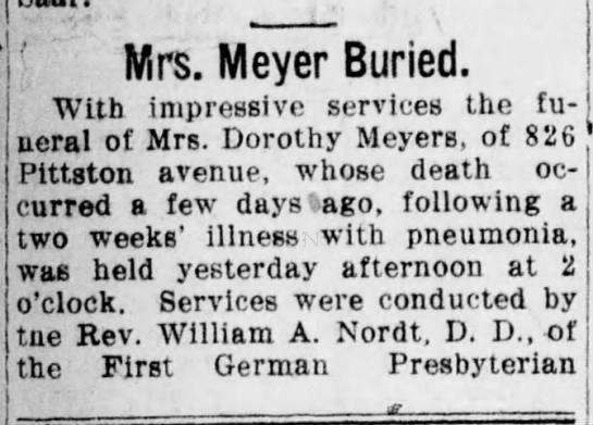 Dorothy Meyers Funeral