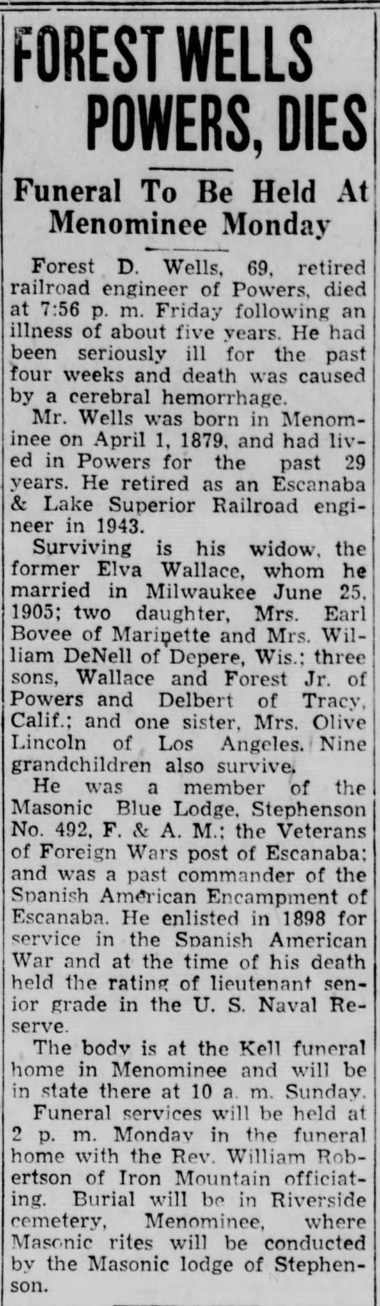 Obit for Forest D. Wells