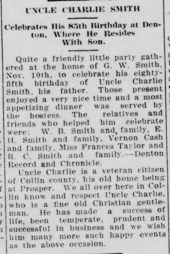 C. L. Smith 85th Birthday - McKinney Courier-Gazette - Nov. 24, 1911