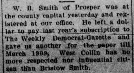W. B. Smith - McKinney Courier-Gazette - Mar. 3, 1908