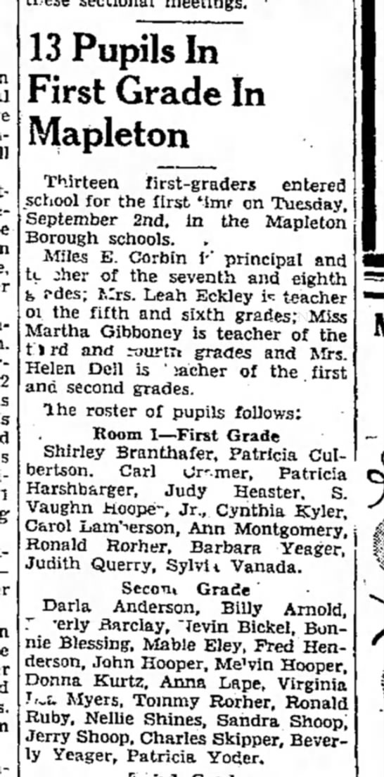 bonnie blessing-mapleton schoolTDN-p12-29 Sep 1947 in Mrs. Dell's class