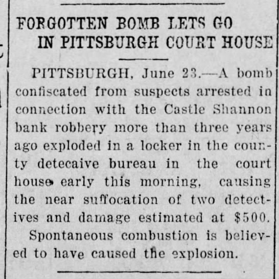storing live ordinance in an evidence locker?  1920 Pittsburgh